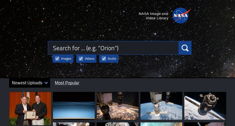 NASA зробили у себе на сайті пошук медіа